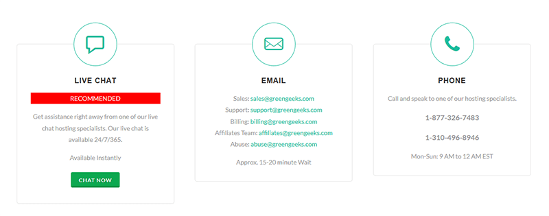 Support client GreenGeeks
