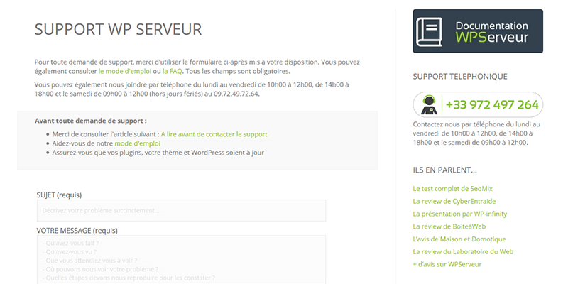 Support client WPServeur